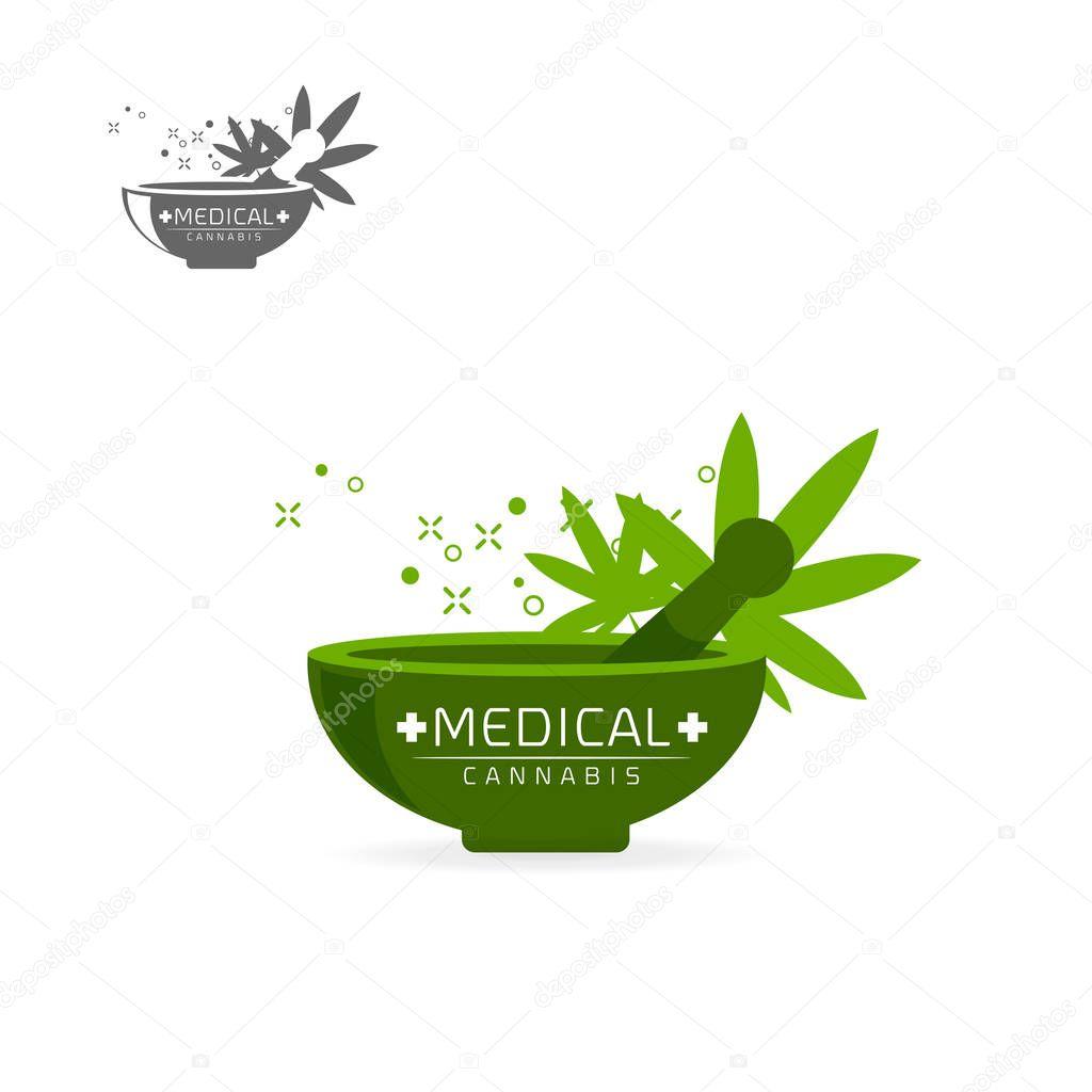 Medical cannabis in green grinder  emblems, label, logo set on white background vector illustration template