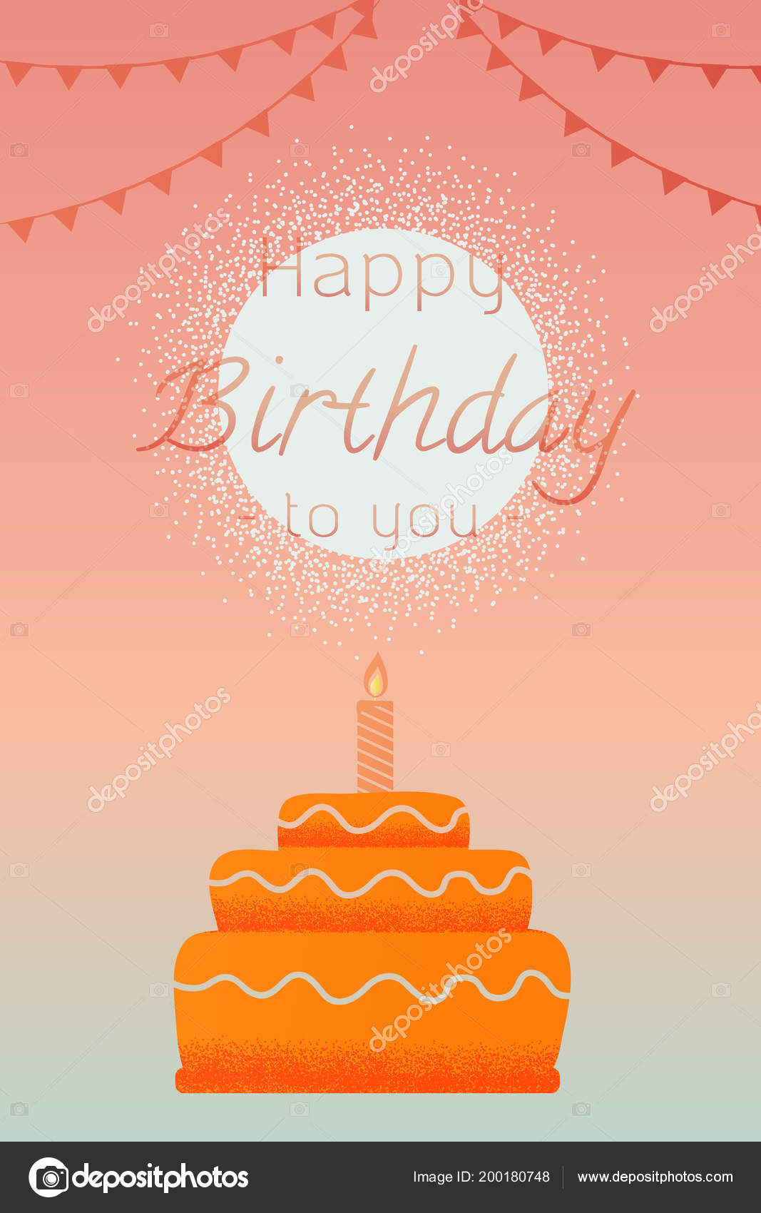 Greeting Card Happy Birthday Cake Candles Sky Background Vector
