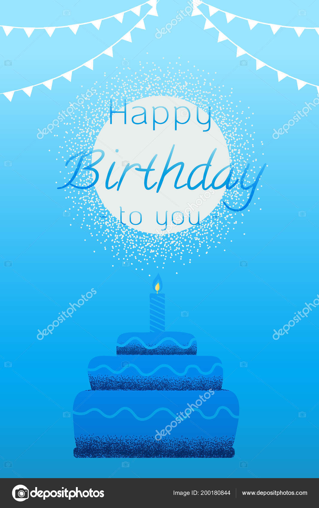 Greeting Card Happy Birthday Cake Candles Sky Background Vector Texture Stock