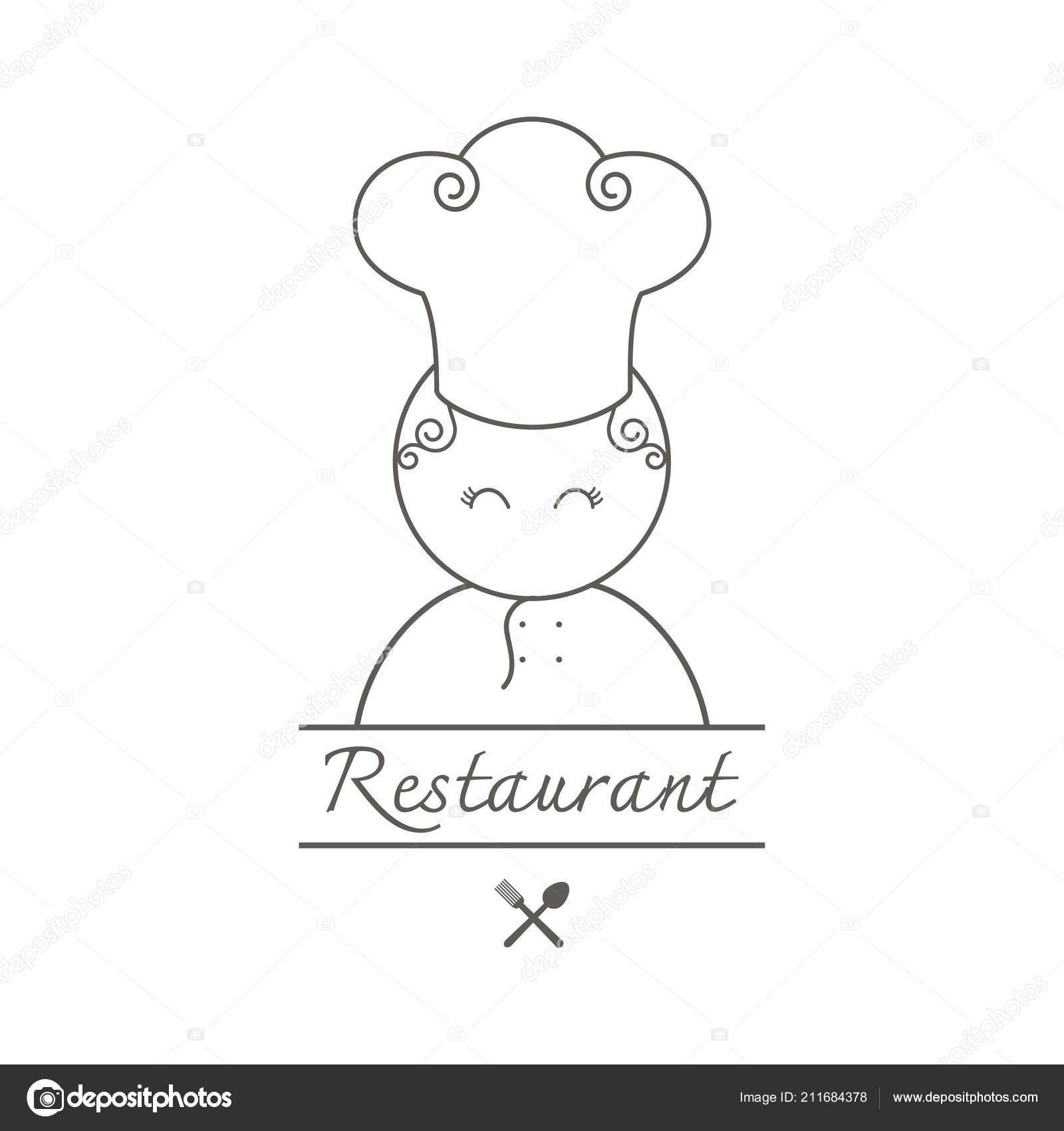 Linda Mujer Chef Dibujos Animados Logo Icono Plantilla
