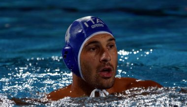 BUDAPEST, HUNGARY - JUL 20, 2017: FIGLIOLI Pietro, player of the Italy team. FINA Waterpolo World Championship was held in Alfred Hajos Swimming Centre in 2017.