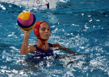 BUDAPEST, HUNGARY - JUL 20, 2017: GANGL Edina (HUN) goalkeeper in the preliminary round. FINA Waterpolo World Championship was held in Alfred Hajos Swimming Centre in 2017.