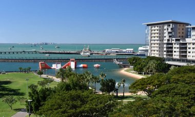 View of Darwin Waterfront, which is a popular area for locals and tourists in Northern Territory of Australia.