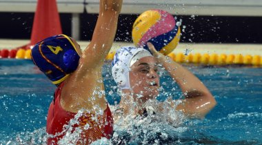 BUDAPEST, HUNGARY - JUL 20, 2017: ORTIZ MUNOZ Beatriz (ESP) player of the Spanish team in the preliminary round. FINA Waterpolo World Championship was held in Alfred Hajos Swimming Centre in 2017.
