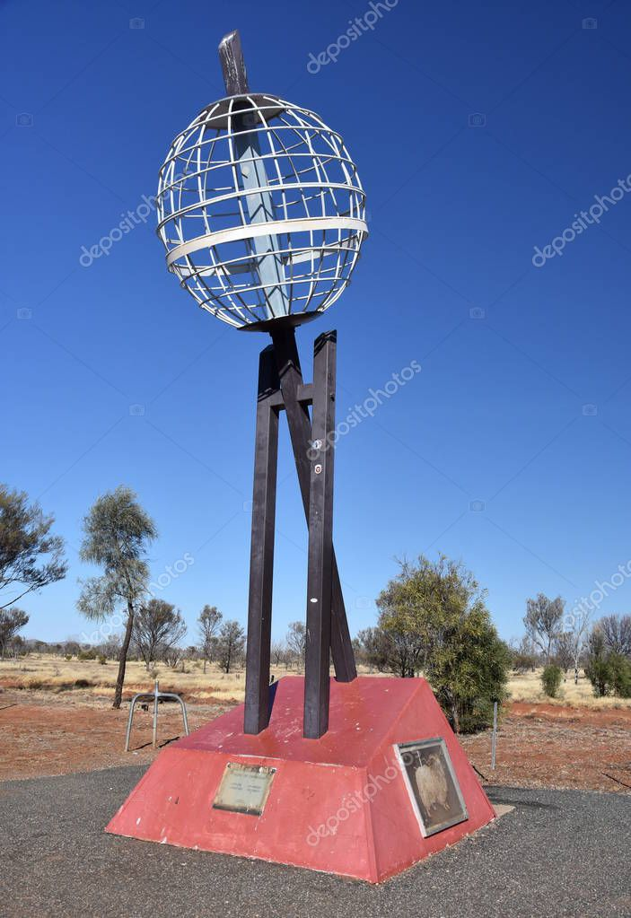 ALICE SPRINGS, AUSTRALIA - JUN 12, 2018: The Tropic of Capricorn or the Southern Tropic. The southernmost latitude where the Sun can be directly overhead.