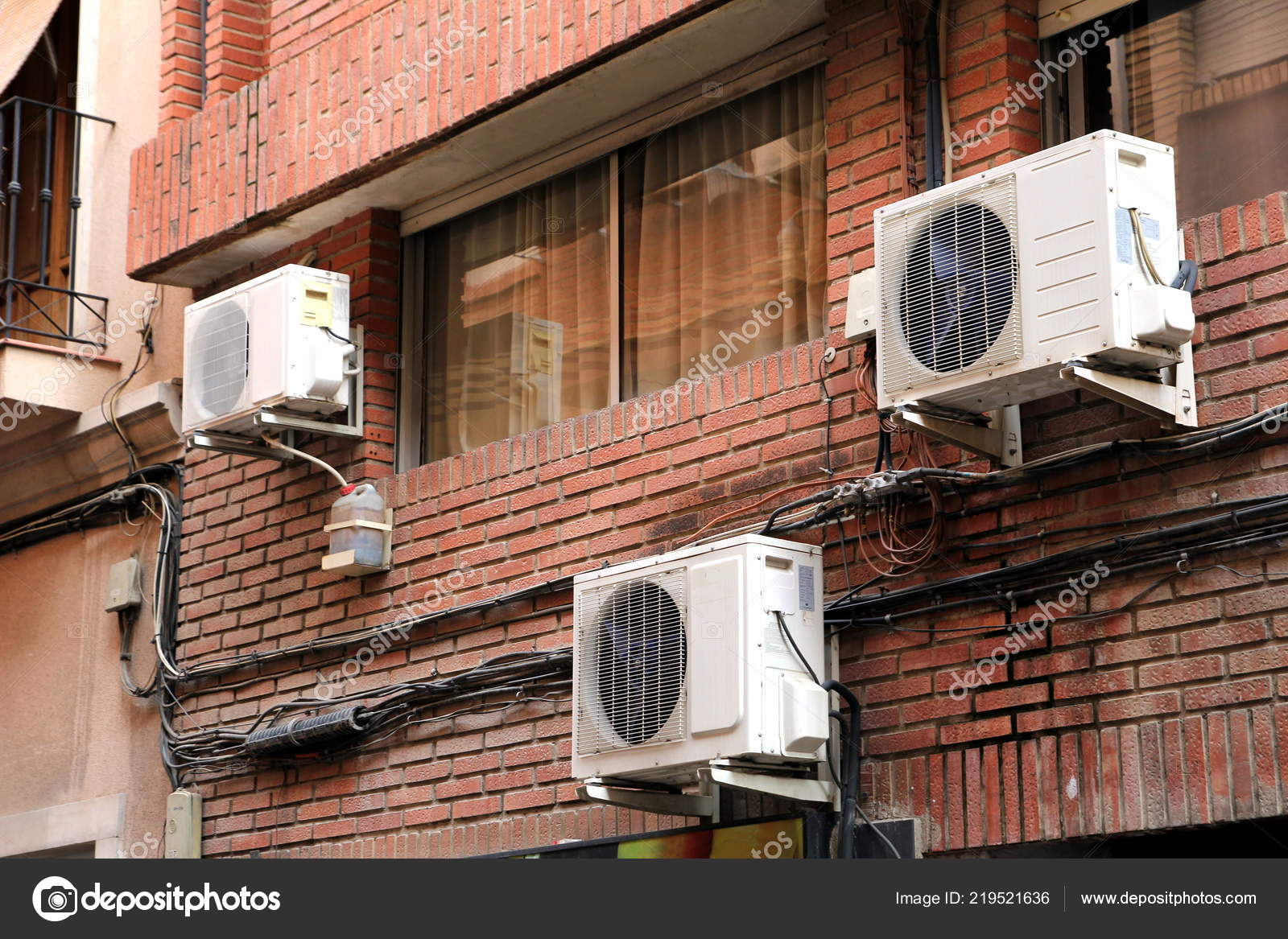 Three Air Conditioning Units Red Brick Wall Domestic ...