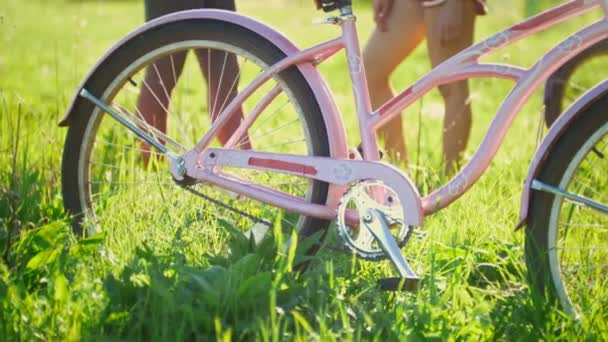 Pink bike on the green grass in the background communicate two young cyclists