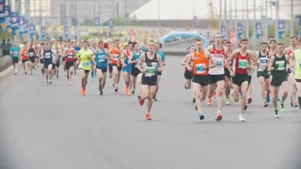 20 may 2018, Kazan, Russia - Kazan Marathon, Sportsmen runners at the marathon in the city, slow-motion