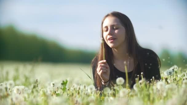 Kaukasischen glückliches Mädchen bläst Löwenzahn in einer sommerwiese