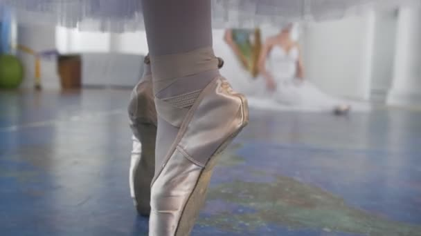 Female feet dancing in pointe shoes in front of ballerinas performs a dance in a studio