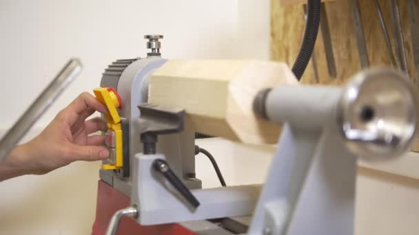 Carpenter makes woodworking of joinery in workshop