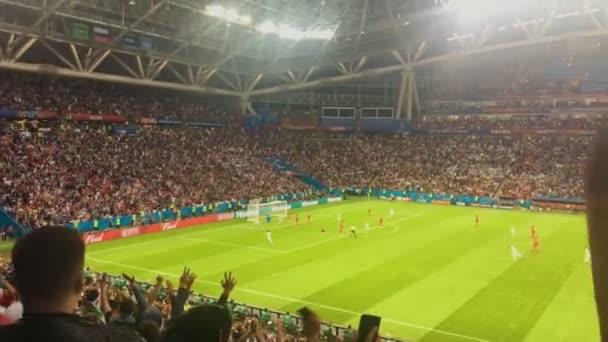 Kazan, Rusko - 20 června 2018: Mistrovství světa ve fotbale 2018 - Kazaň arena stadium - odpovídají Iram-Španělsko - první gól