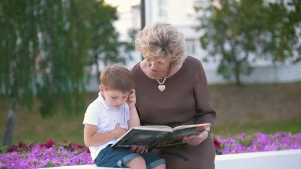 Chlapec a babička číst pohádky v parku