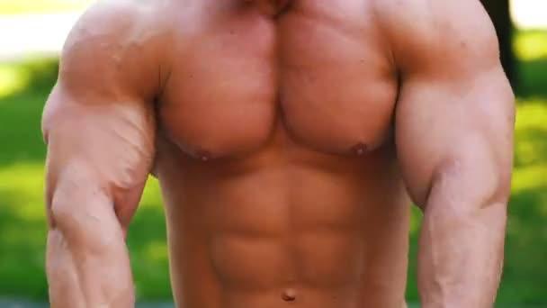 Junger Mann mit muskulösem Oberkörper wärmt sich im Park auf