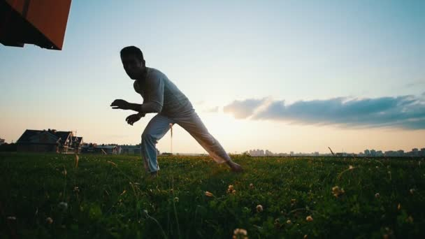 Strong man trains, stands on one hand, shows capoeira dance on the grass in the summer evening