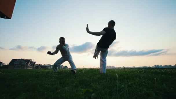 zwei athletische Männer, die sich bei Sonnenuntergang auf dem Rasen prügeln