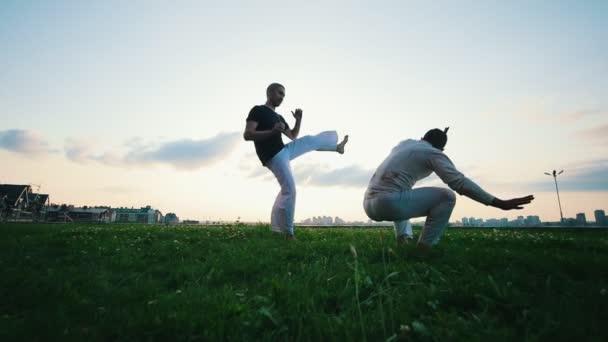 Zwei athletische Männer demonstrieren auf dem Rasen die Kampfkunst Capoeira