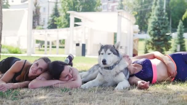Beautiful young women resting on grass with husky dog, summer