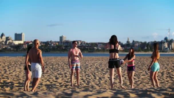 Skupina přátel bavte se hraje plážový volejbal