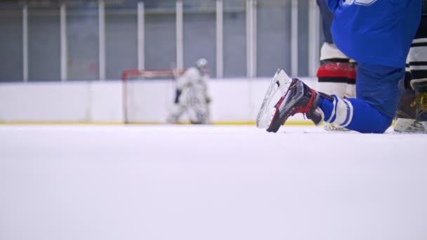 Hokejový brankář stojí u brány během hokejový zápas na ledě na pozadí