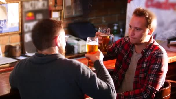 Two guys sit at the bar, clinking glasses and talking to each other