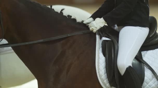 die Jockeyspielerin sitzt in Uniform und weißen Handschuhen auf einem braunen Reitpferd