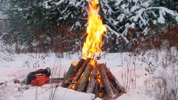 Máglya. Gyújtottam tűz a téli erdő. Egy láncfűrész, a földön
