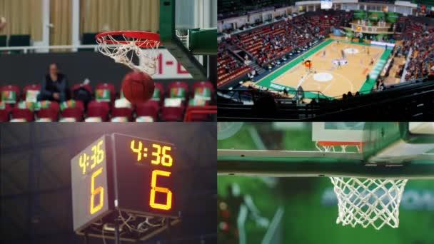 4 az 1-ben-kosárlabda játék. Sport eredménytábla számok, kosárpalánk és mező