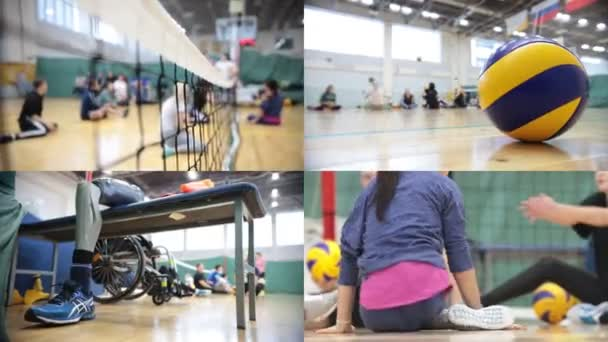 4 in 1: Sports for disabled people. People sitting on the floor and playing volleyball