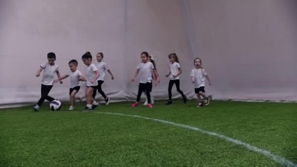 Halový fotbal aréna. Malé děti hrát fotbal. Malého chlapce vede míč