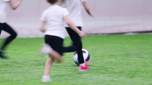 Fußball-Hallen. Kleine Kinder in Form aktiv Fußball spielen