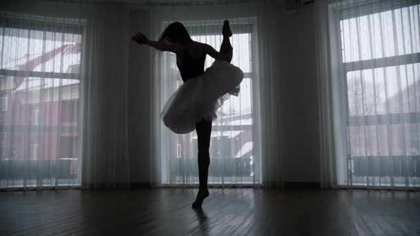 A studio in twilight. A silhouette of young woman ballerina in tutu training her spinning in front of the window