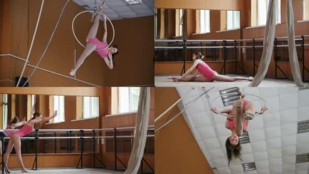 4 in 1: Tanzende Athletik-Zirkusfrau trainiert im Studio - Dehnen, Akrobatik, Luftgymnastik