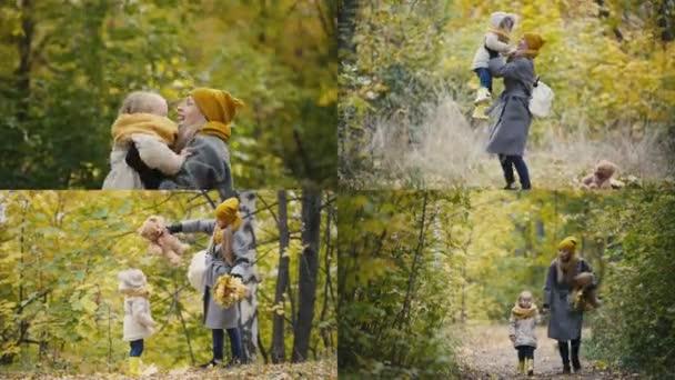 4 v 1: mladá matka s dcerou na podzimním lese