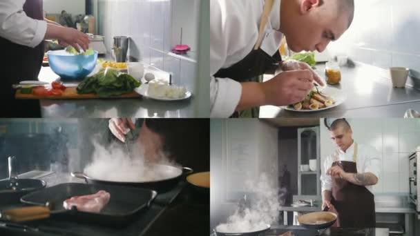 4 in 1: Koch bereitet Gerichte in der Küche zu - Gemüse - Fleisch