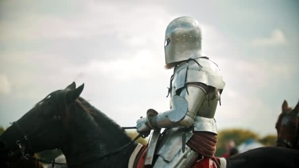 A man knight in the armor riding a horse - another knight comes next to him