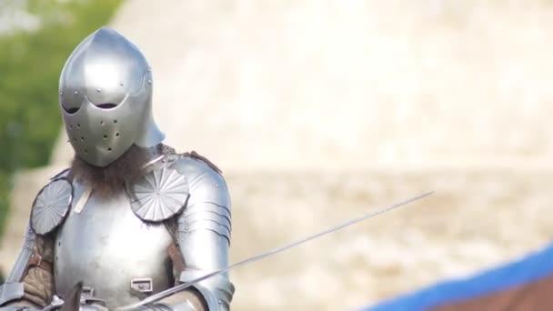 BULGAR, RUSSIA 11-08-2019: Bearded knight riding a horse on the field