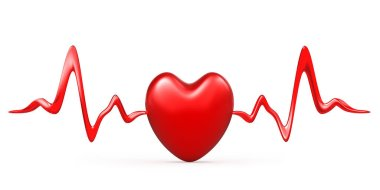Heart pulse, cardiogram line illustration, heartbeat.