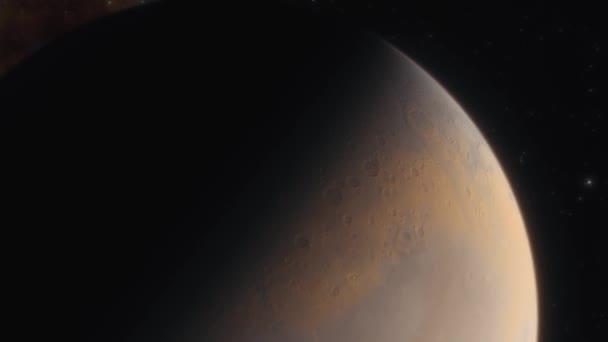 Planet Mars im Weltraum. Raumsonde fliegt nahe dem Mars im Sonnensystem. 3D-Animation