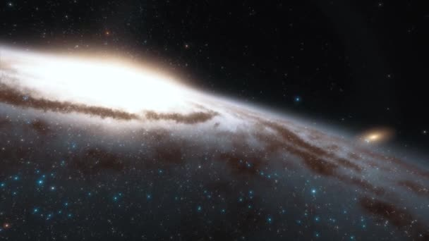 4k animation. Spaceship flies at the speed of light through a galaxy in space. Billions of stars in the Milky Way galaxy. Beautiful clusters of stars