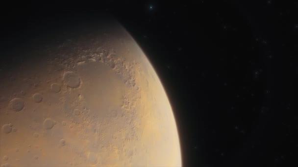 Mars bolygó a mélyűrben. űrhajó repül a Mars közelében a Naprendszerben. Mozgókép 3D animáció