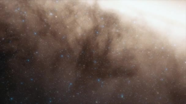 Bright center of the galaxy. Billions of stars in the Milky Way galaxy. Beautiful clusters of stars. 4k cinematic animation of space