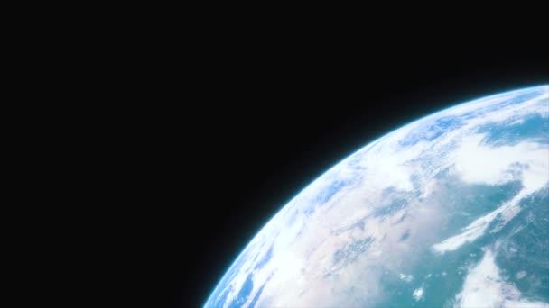 Raumschiff fliegt über den Planeten Erde. filmische Aufnahme unseres Heimatplaneten. Blick auf den Planeten Erde aus dem All. 3D-Animation