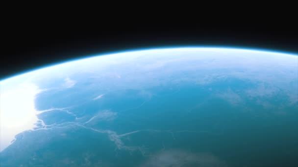 Vesmírná loď létá nad planetou Země. Filmový záběr naší domovské planety. Pohled na planetu Zemi z vesmíru. 3D animace