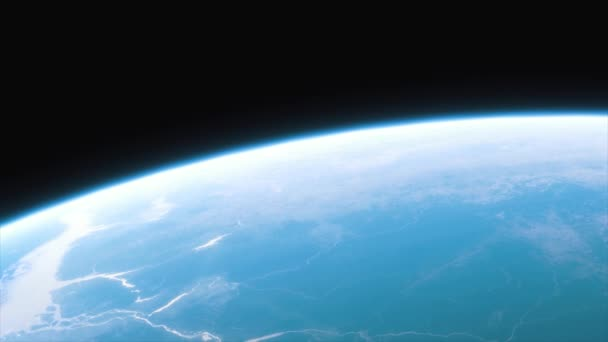 Spaceship flies over the planet Earth. Cinematic shot of our home planet. View Of Planet Earth From Space. 3d animation