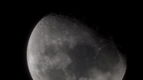 Moon in deep space. Spacecraft flies near Moon. Cinematic detailed 3d model of moon