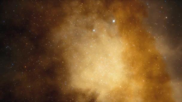 Vesmírná loď létá blízko barevné mlhoviny ve vesmíru. Miliardy hvězd v galaxii Mléčné dráhy. Krásné shluky hvězd. 3D animace