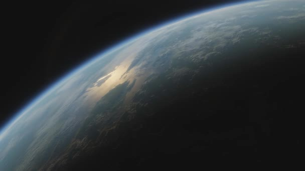 Terraformed planet Mars. View from space to Mars with oceans and plants spacecraft flies near terraformed Mars in the solar system. Cinematic 3d animation