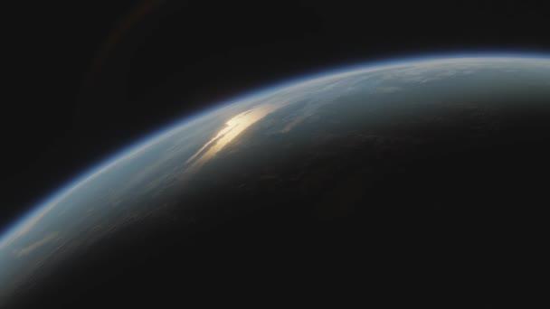 Terraformierter Planet Mars. Blick aus dem All auf den Mars mit Ozeanen und Pflanzen Raumsonde fliegt in der Nähe terraformierten Mars im Sonnensystem. Filmische 3D-Animation