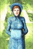 Fotografia Personaggio di bella donna in costume depoca. Particolarmente adatto a Regency Romance, design fan fiction Austen e il signor Darcy e libro copertina. Uno di una serie